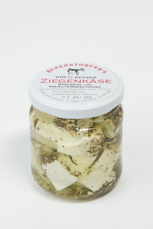 Produktbild Ziegenkäse in Sonnenblumenöl von Ziegenhof Eckerstorfer